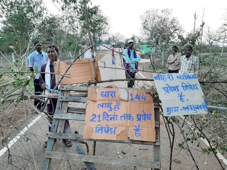 Left: In Siyadehi village of Dhamtari district, Sajjiram Mandavi, a farm labourer, says, 'We are stopping all those coming here to avoid any contact'. Right: We saw similar barricades in Lahsunvahi village, two kilometres from Siyadehi