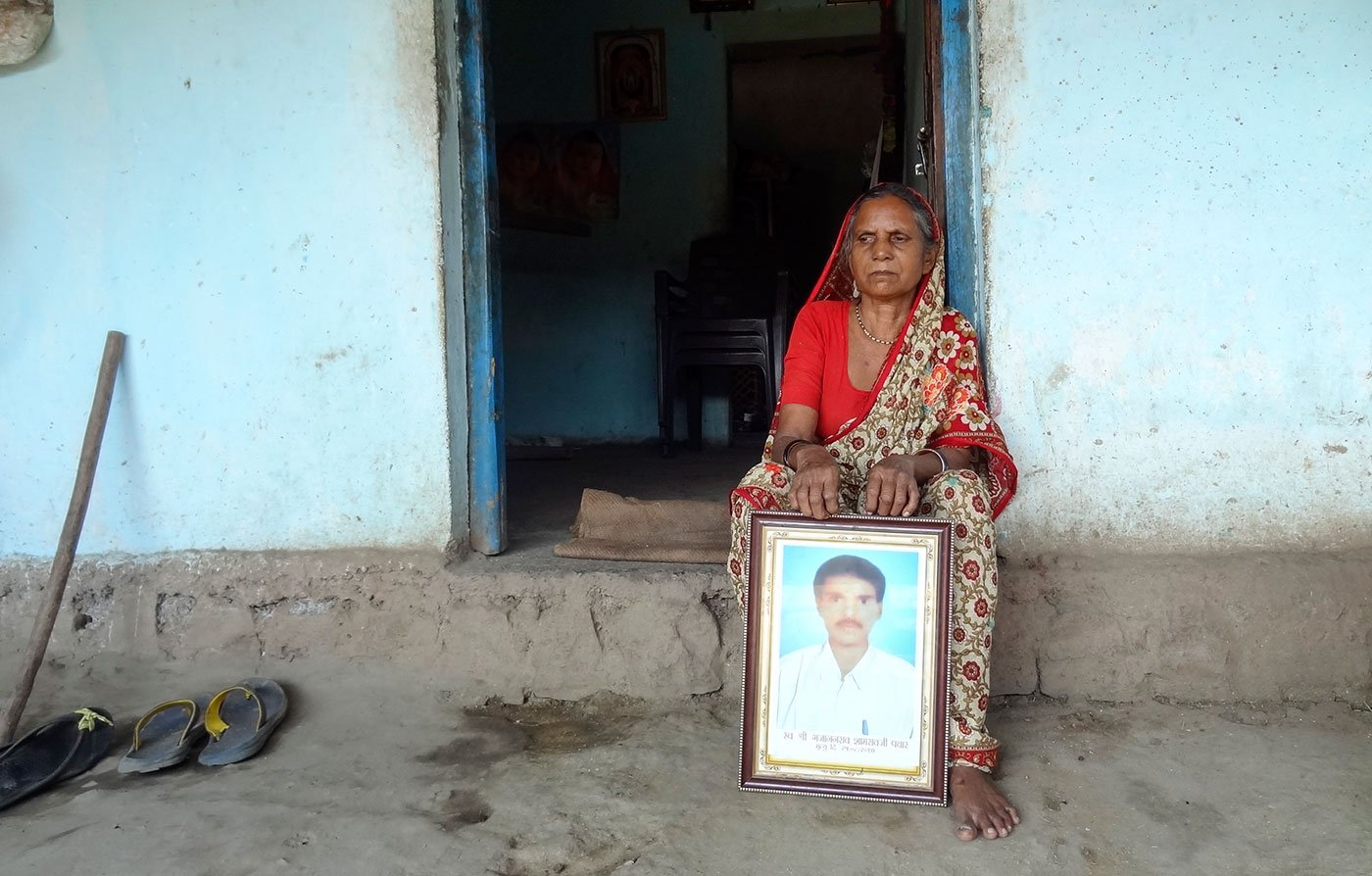 Indukala Pawar lost her husband Shyamrao early this year, but she says he died in tension after the couple lost their elder son Gajanan (framed photo) last year in T1's attack in Sarati