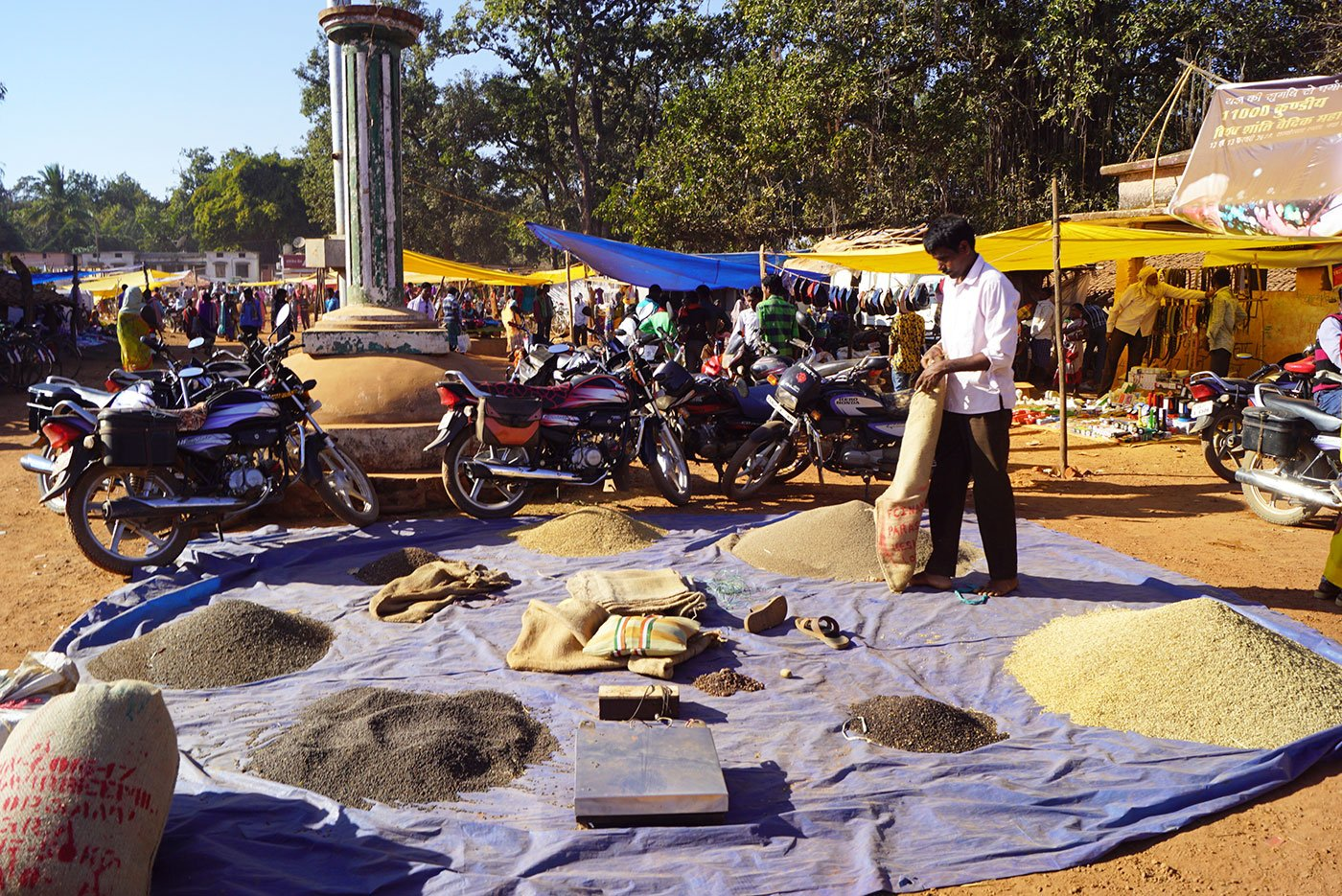 A trader sorting out grains at Amabeda haat