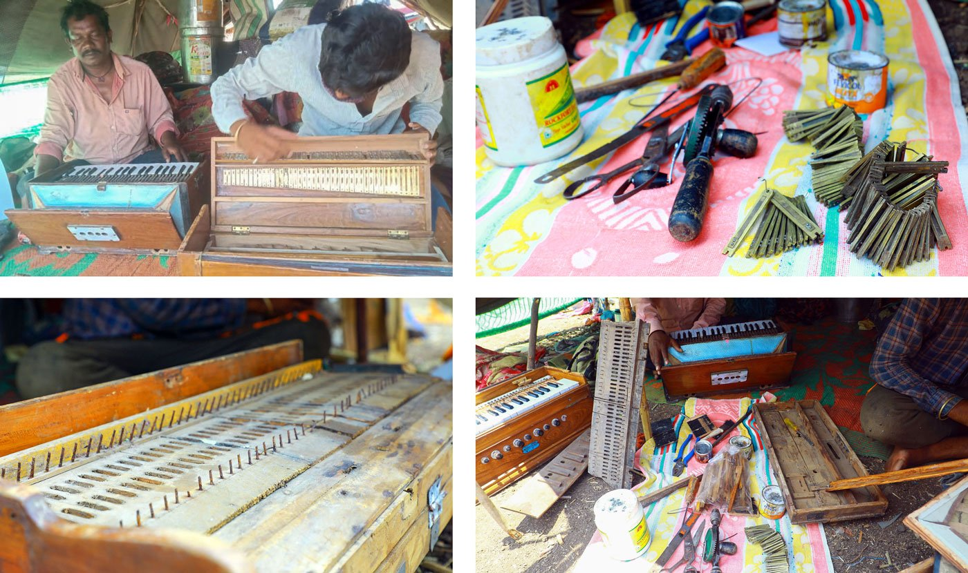 Top left: Ashok Yadav looks on as a younger repairmen grapples with a problem. Top right: Tools and metal keys to be polished and cleaned and repaired. Bottom left: A harmonium under repair, stripped off its keyboard and keys. Bottom right: Ashok and Akash demonstrate their work