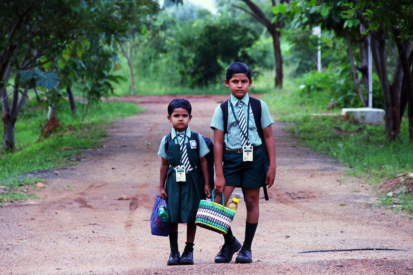 Dhanush Kumar and Iniya on their way to school