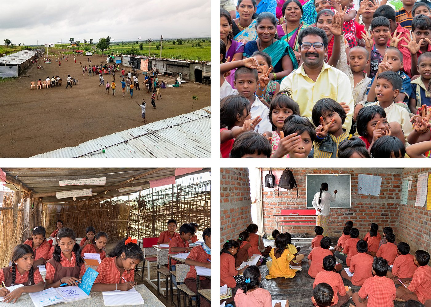 Top left - School Premises Top right - Matin Bhosale with his students Bottom left - Students inside a thatched hut classroom Bottom right - Students in semi concretised classroom