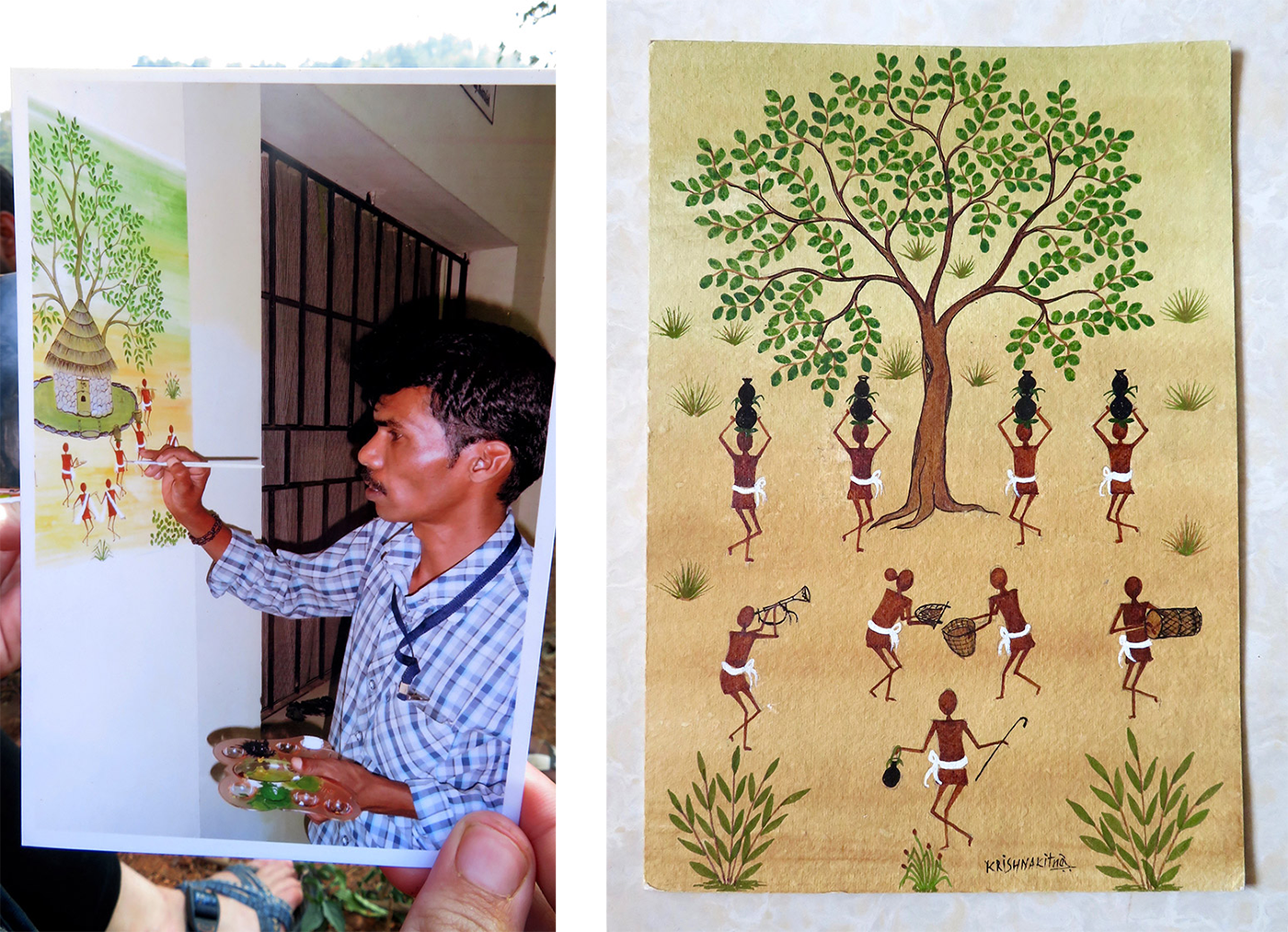 Left: A photograph of a photo of Krishna while painting. Right: One of his completed artworks