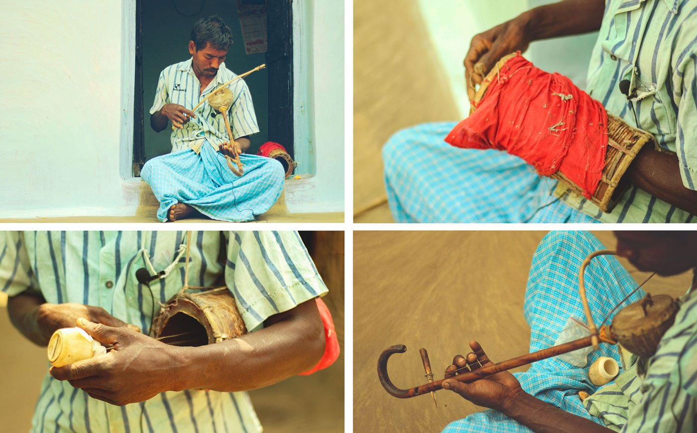 Top left: Ganesh Soren at his doorstep with his whimsical fantor banam. Top right, bottom left: Ganesh's signature gabgubi, with his son's dhol as the main part, along with an old Pond's container. Bottom right: His banam, made with coconut shell covered with hide, fastened to an umbrella handle with nuts and bolts