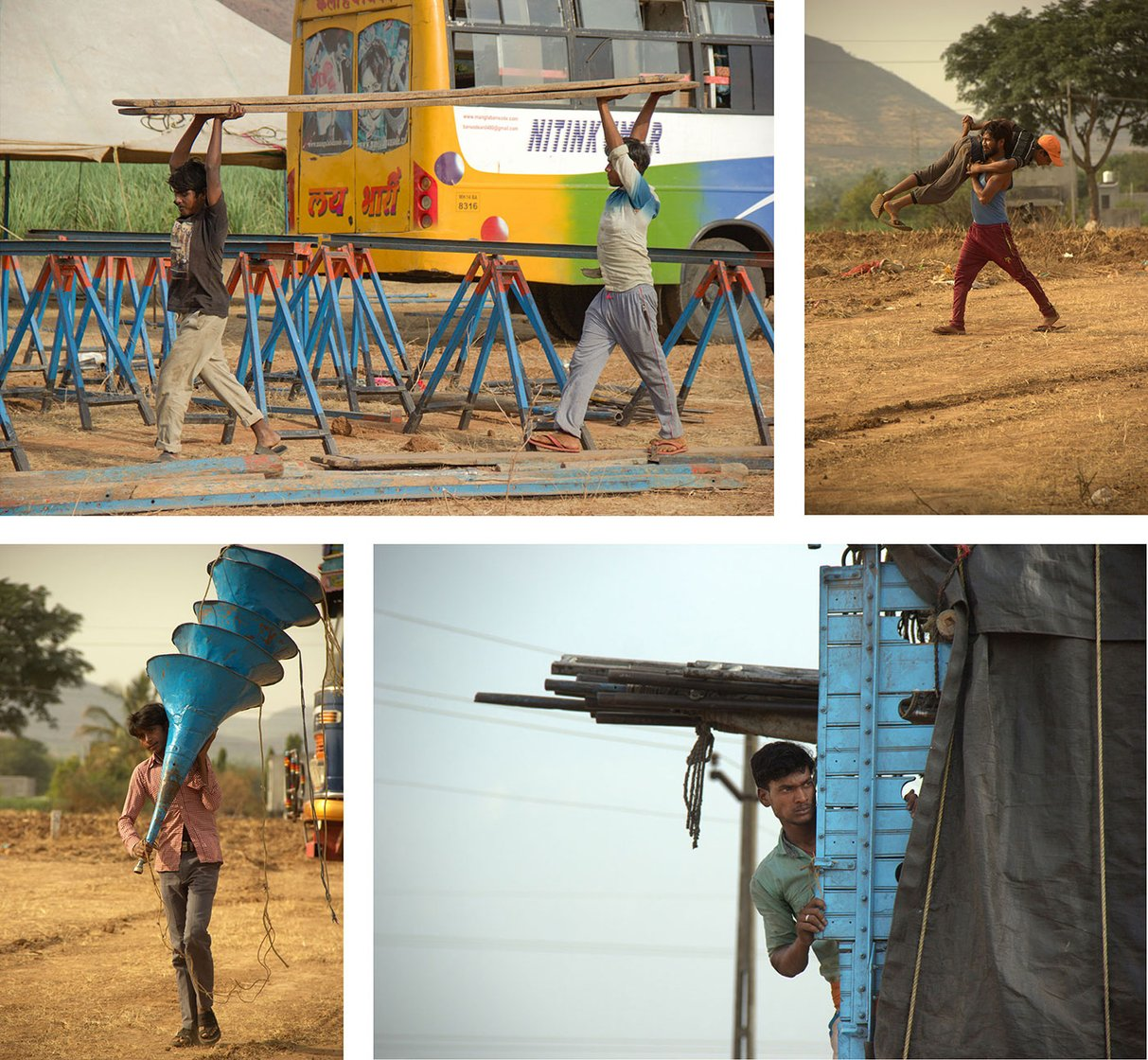 Top left-Labourers from Aumau village, Lucknow district, UP carry planks for the tamasha stage on 4 May 2018 in Karavadi village, Satara district, in western Maharashtra.   Top right-Lallan Paswan from Aumau village, Lucknow district, UP playfully carries one of his friends while working on tents, on 4 May 2018 in Karavadi village, Satara district, in western Maharashtra.   Bottom left- Aravind Kumar carries speakers on 4 May 2018 in Karavadi village, Satara district, in western Maharashtra.   Bottom right- Shreeram Paswan, a labourer from Aumau village, Lucknow district, UP, during stage building time on 4 May 2018 in Karavadi village, Satara district, in western Maharashtra