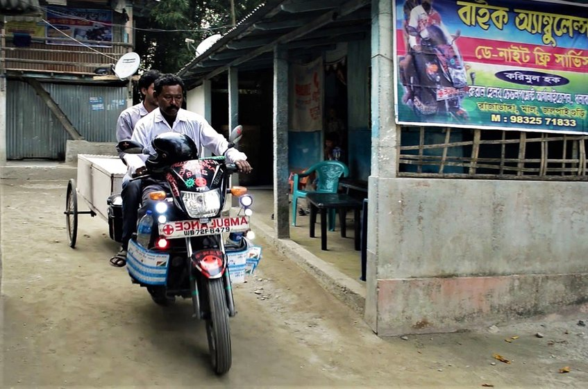 Karimul Haque has created a two wheeler ambulance to take his fellow villagers to the Doctor in case of emergency
