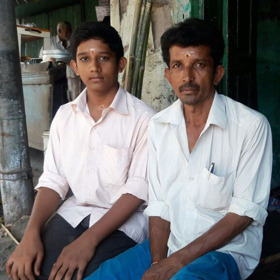 PR Bala with his son, Saravana Ventha, at his workshop in Aruldaspuram in Madurai