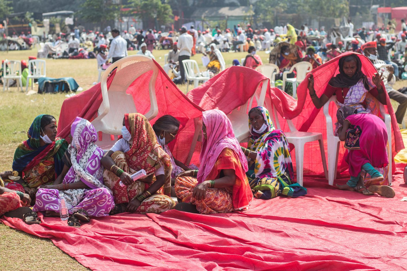 Women farmers protesting against New farm bill