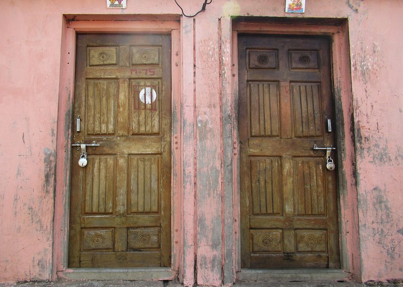Padlocked doors in Hatkarwadi village in Beed district of Maharashtra