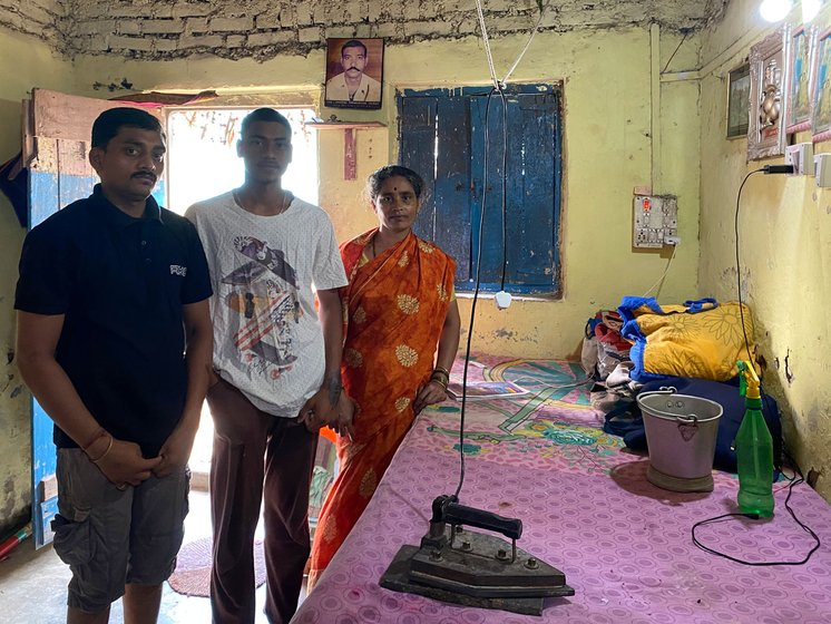 Left: Anita Raut, son Bhushan (centre) and nephew Gitesh: 'Our [ironing] business has shut down'. Right: Anil and Namrata Durgude: 'We are losing our daily income'