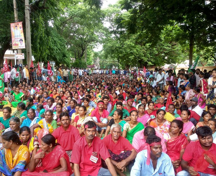 Massive gathering as part of the dharna at the district collectorate