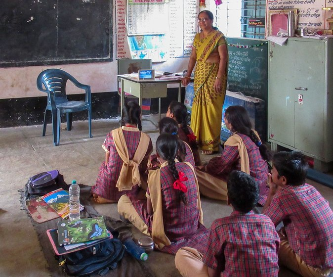 Parvati Ghuge in the classroom at the Sanja ZP school