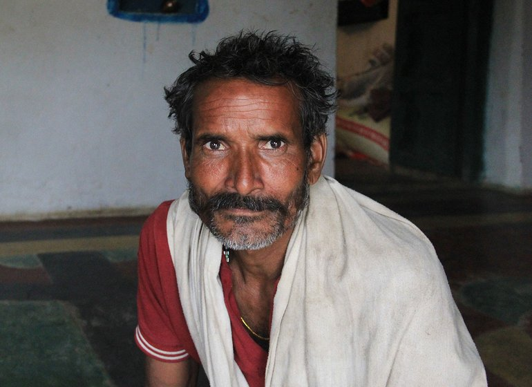 Deelan Kuandhar in his house in Sarathpura Hamlet, Tara Village, Amanganj tehsil, Panna District