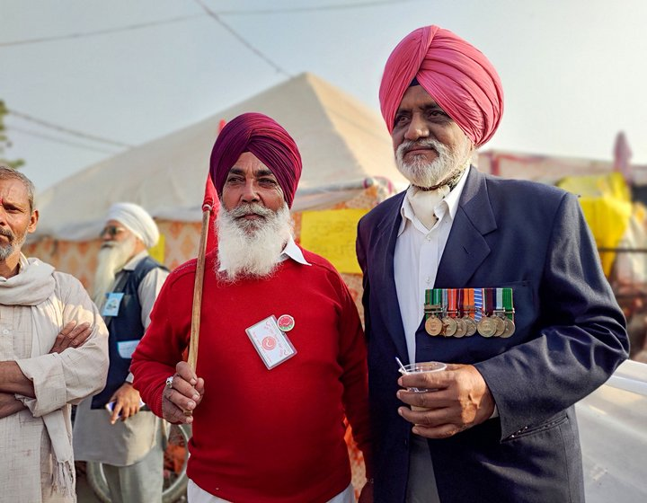 Left: Lt. Col. Jagdish S. Brar fought in the 1965 and 1971 wars. Right: Col. Bhagwant S. Tatla says that India won those wars because of farmers