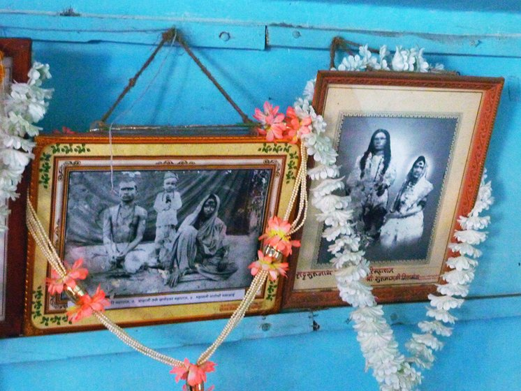 old photographs with garlands
