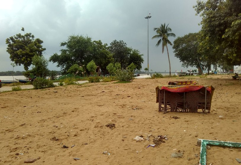 Punnami Ghat, after the houses are demolished. You could see cots and utensils still lying there