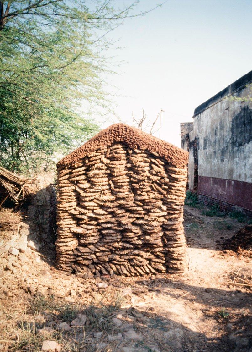 A pile of dung cakes