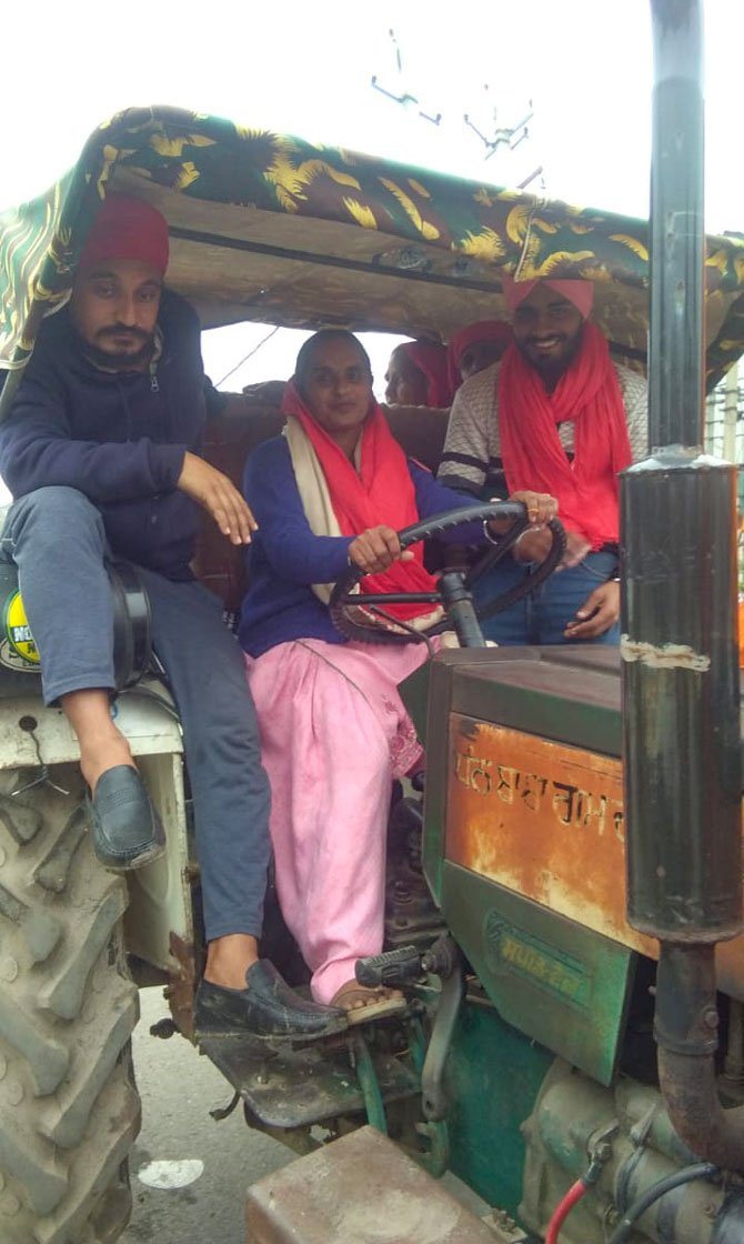 Sometimes, Sarbjeet gives children an others at the protest site a ride on her tractor, which she learnt to drive four years ago