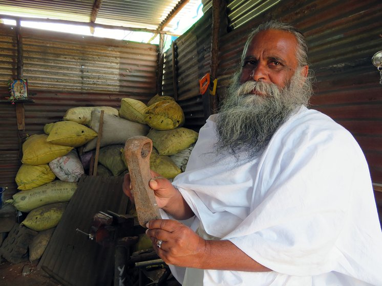 R. Lakshmanan, 58, a former bank manager and now a Kota pujari (priest).