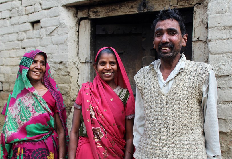 Usha Devi (Dharmendra's wife, in centre) with her brother Lalji Ram and mother Chutki Devi in the village of Dandopur