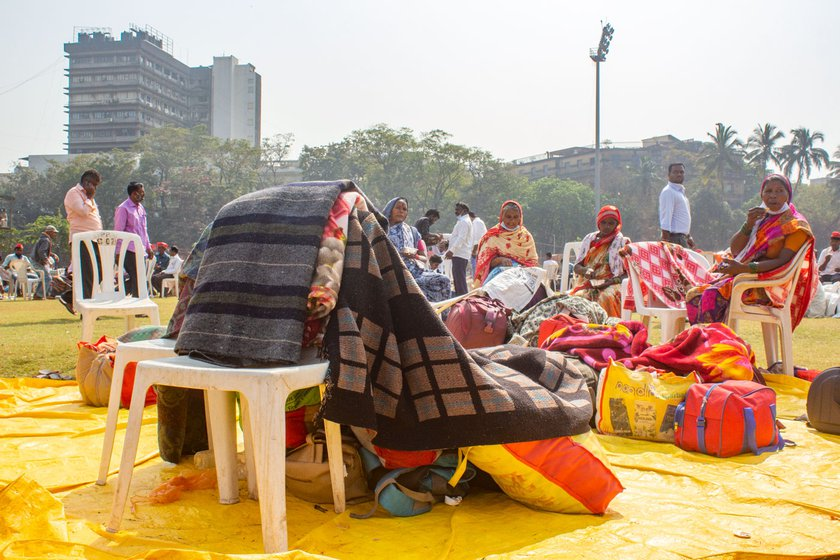 Lakshmi Gaikwad (left) and the other protestors carried blankets to Mumbai to get through the nights under the open sky in Azad Maidan