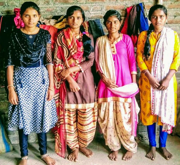 Left: Jamuna has to travel long distances to go to school, the situation worsens during the monsoon season. Right: Archana Solanke, Jamuna Solanke, Anjali Shinde and Mamta Solanke are the first batch from the Nathjogi community to pass Class 10