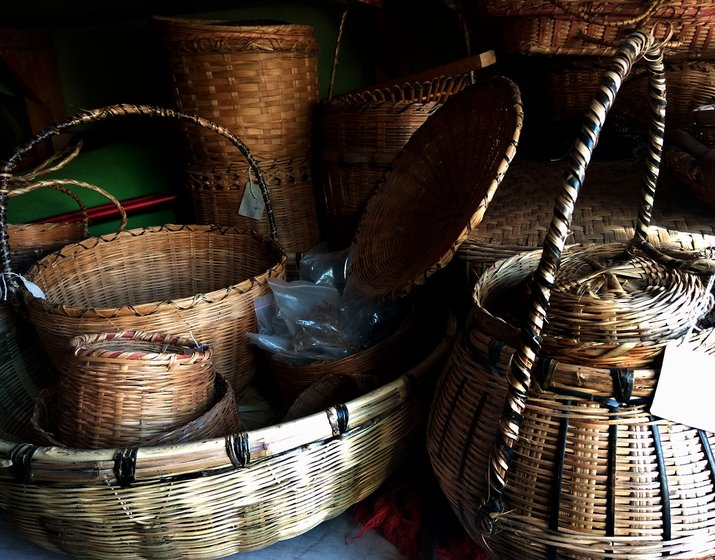 Different types of woven bamboo baskets