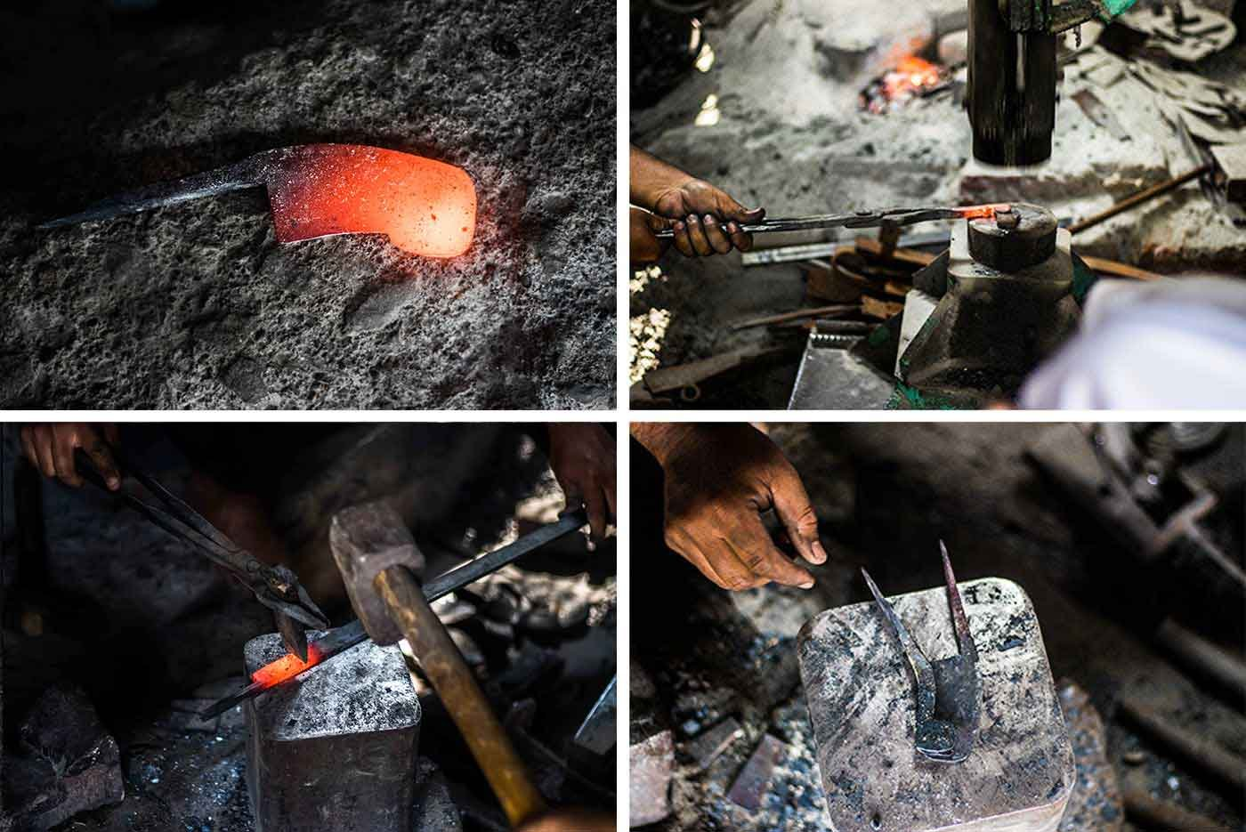 After removing it from the forge, the red-hot carbon steel (top left) is hammered by a machine for a while (top-right). Then it is manually hammered using a ghan or hammer (bottom left) to shape it into a nut cutter (bottom right)