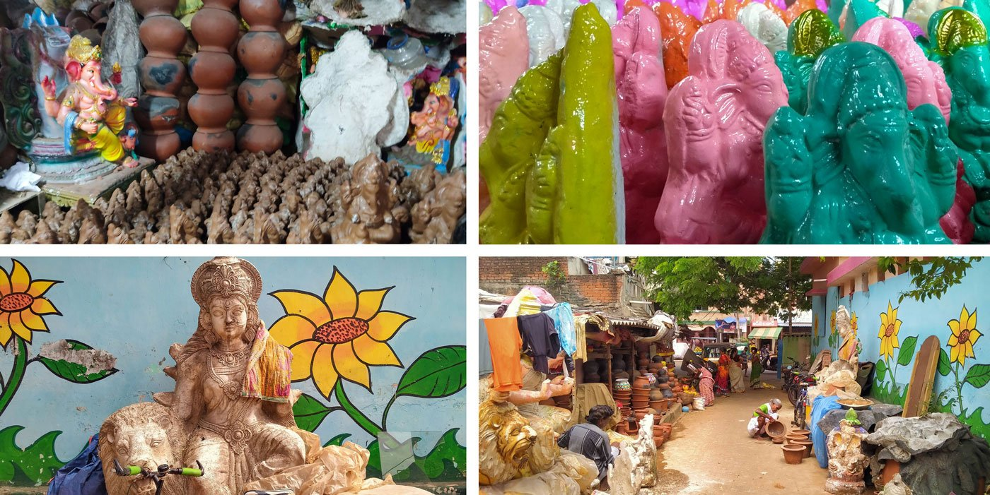 The potters in Kummari Veedhi make small and big Ganesha idols, and other items. But the four Kummara families in this lane – which had 30 potters' families 15 years ago – have seen their situation worsen through the lockdown