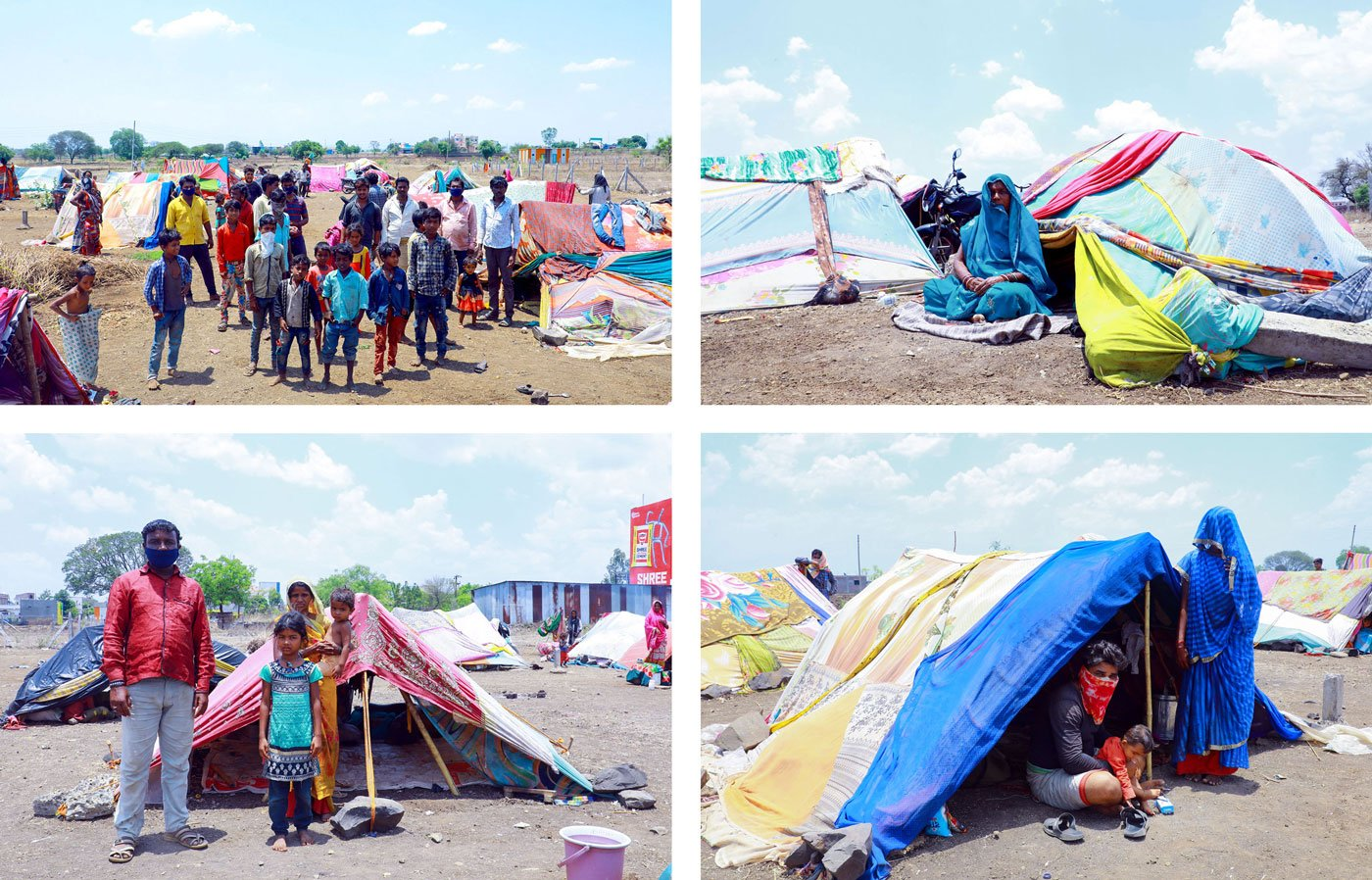 The lockdown saw the 18 families stuck in tents on an open ground that the Renapur municipal council had permitted them to occupy