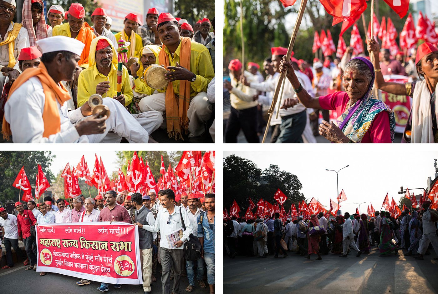 Top left - Three men singing and playing instruments. One of them is playing the cymbals. Men in red hats look on  Top right - An old woman dancing in front of people marching  Bottom left - Farmers marching holding red communist flags  Bottom right - Farmers marching holding red communist flags