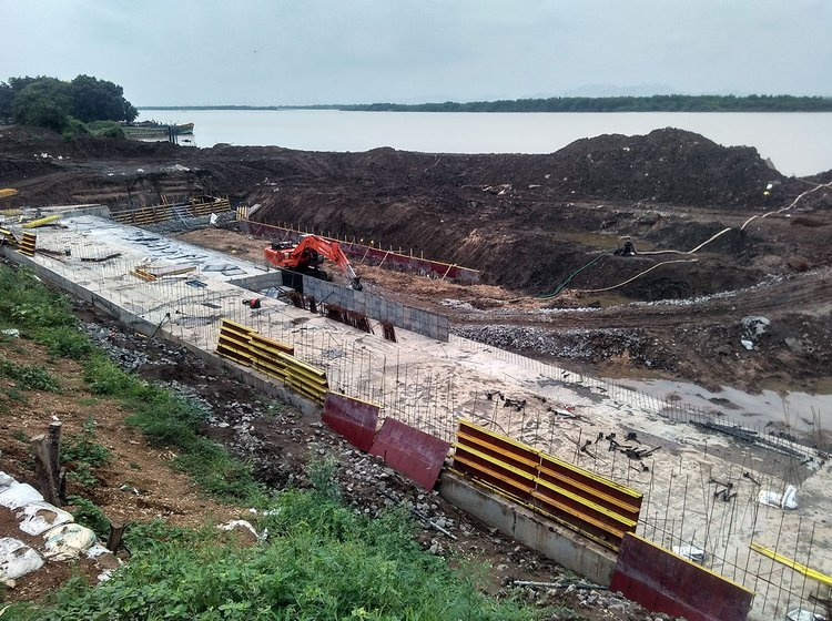 Kondaveeti Vagu Lift Irrigation Scheme under construction