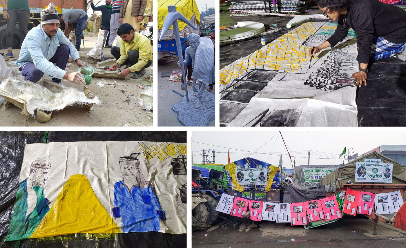 Top left and centre: Devarajan Roy and Biju Thapar making cut-outs of historical figures like Sir Chhotu Ram for the farmers' Republic Day parade. Top right: Ishita, a student from West Bengal, making a banner for a tractor, depicting how the laws will affect farmers. Bottom right: Posters for the parade
