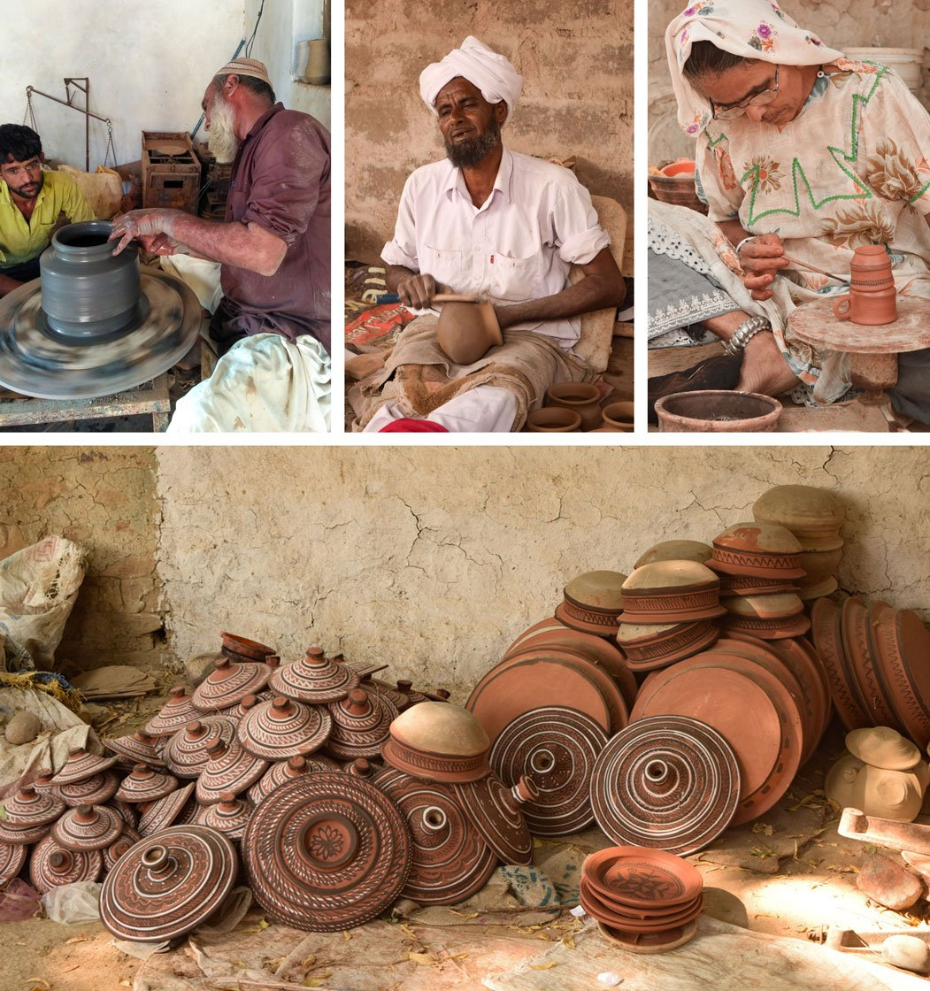 Potter Ramju Ali Kumbhar and son Amad Kumbhar (top left) say: '...getting clay for our work is not so easy now'. Business has slumped for Kachchh's potters, including Kumbhar Alarakha Sumar (top centre) and Hurbai Mamad Kumbhar (top right)
