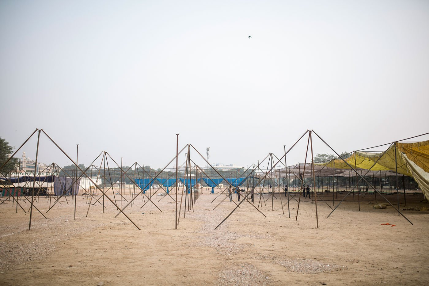 Tent poles at Ramlila Maidan