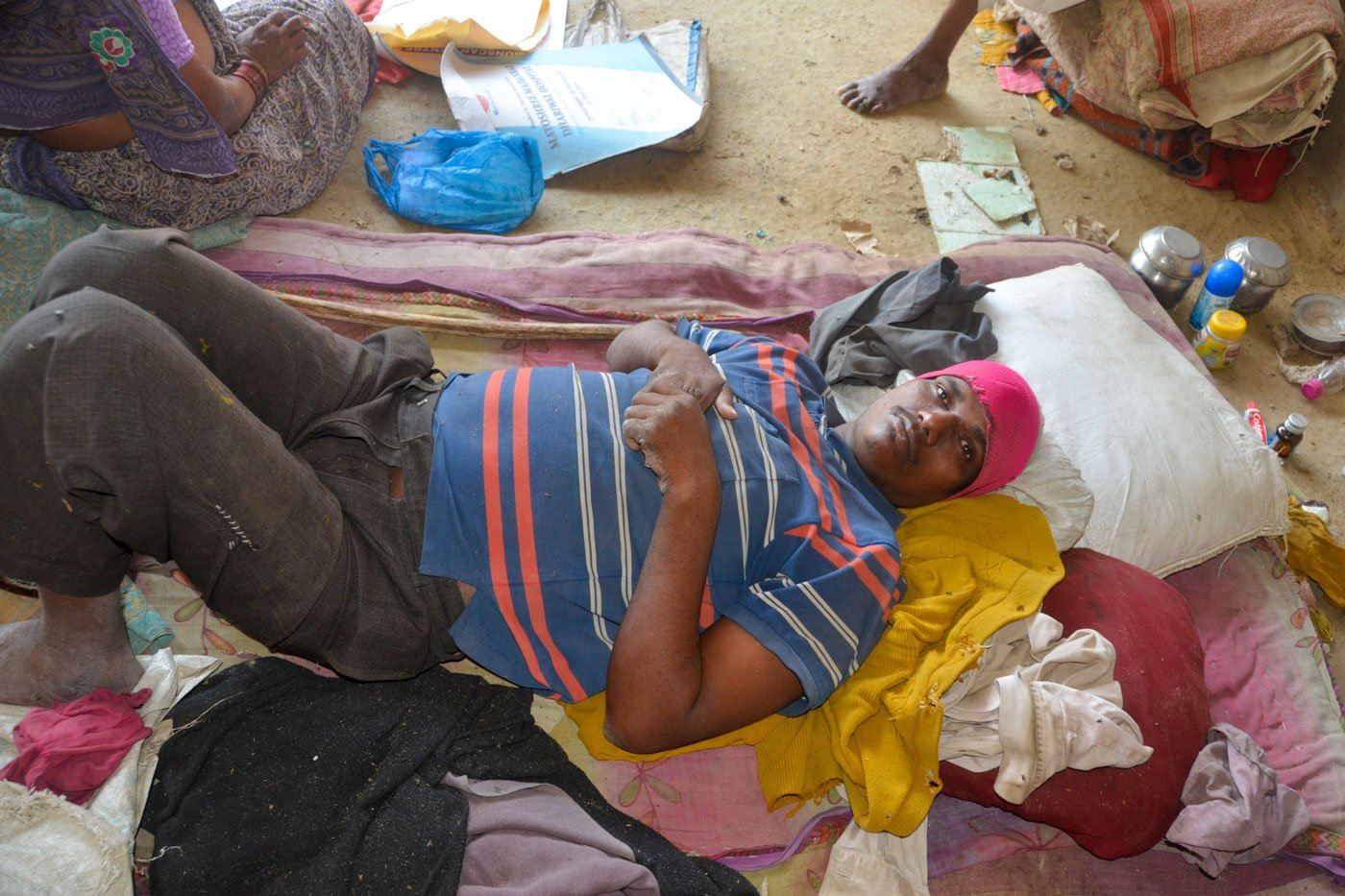 Sandeep is bedridden, paralysed from the waist down. Shantabai is worried about finding food to feed him (file photo)