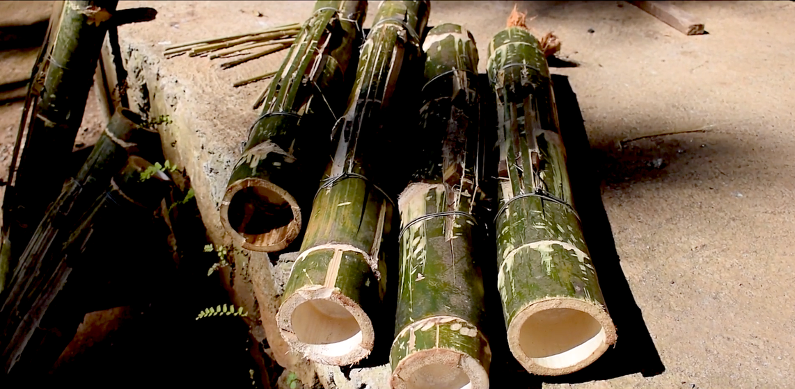 In Parappa village of Kerala, a group of around 15 men drum on 'grass' – on the mulam chenda, a bamboo drum.