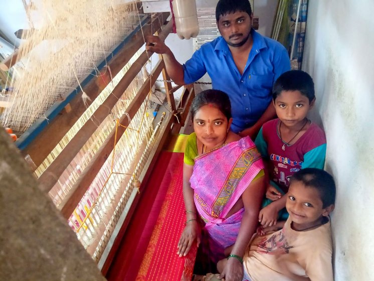 "Left: B. Sunitha and her husband Bandla Pradeep Kumar in Chirala: 'With no raw material, we cannot work'. Right"" Macherla Mohan Rao, founder president of the Chirala-based National Federation of Handlooms and Handicrafts, says, 'This [lockdown] will finish them off the weavers'"