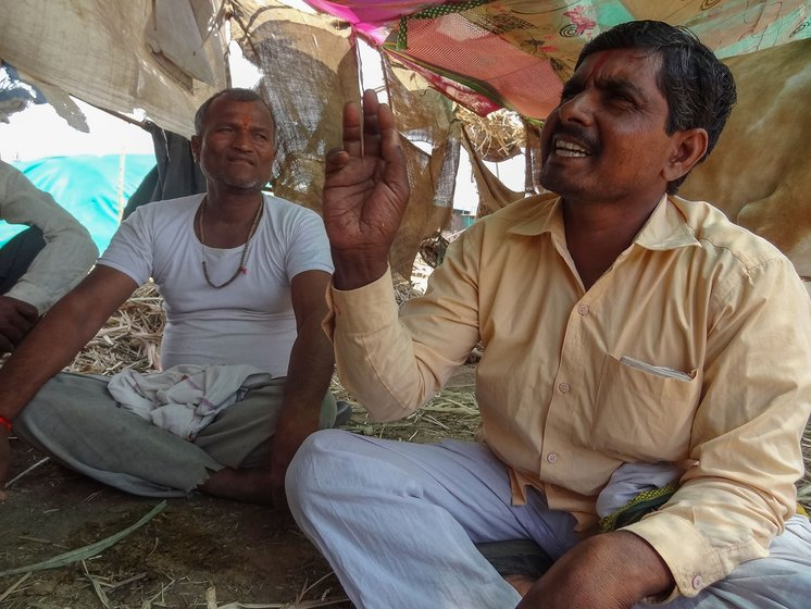 Prahlad Dhoke (right) and Walmik Bargaje (left) of the Vadgaon Dhok village in Georai tehsil of Beed district, at a cattle camp at their village