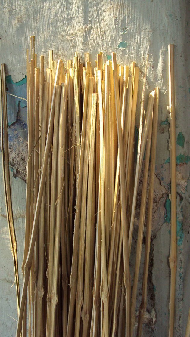 Slit bamboo sticks ready to be made into a screen