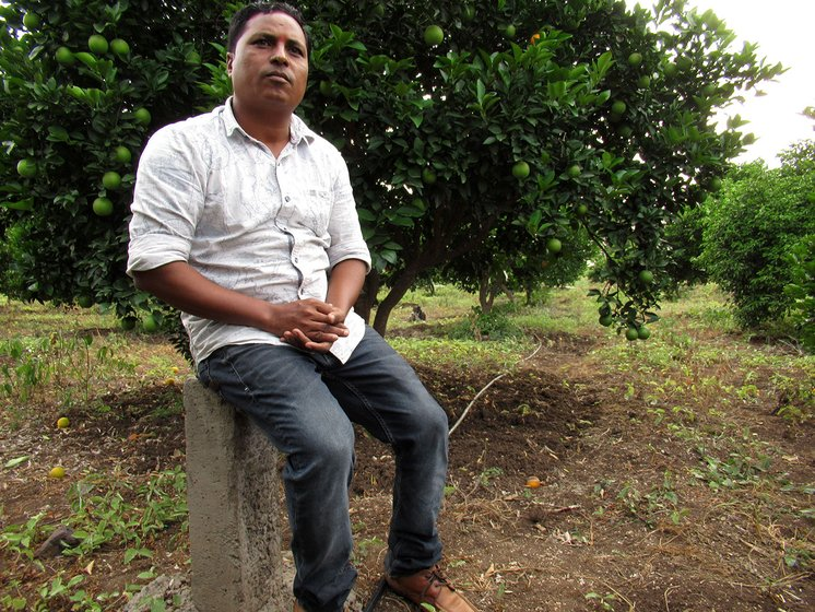 Balasaheb Hekde at his orchard