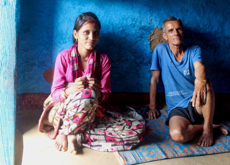'We did not want to risk going all the way to Almora [for the delivery] in the pandemic,' says Pan Singh Rawat (left), Manisha's father-in-law; they live in a joint family of nine