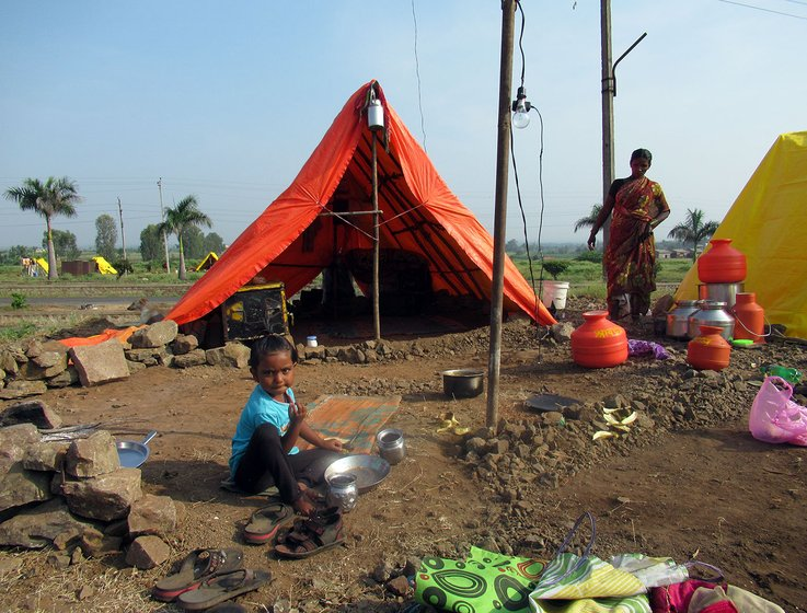The migrant workers install temporary shacks on the fields, where they will spend six months at a stretch. They cook food in the open and use the fields as toilets. Social distancing is a luxury we cannot afford', says Balasaheb Khedkar