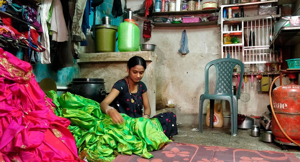 Geeta Samal Goliya, 32, a resident of Vishram Nagar, has been earning Rs 2 per saree for the past ten years. Her husband is employed in a powerloom in the neighbourhood.