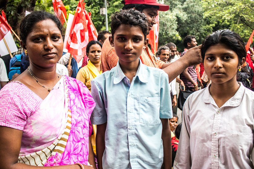 From left to right: ASHA worker Pradnya Dhurandar, her son Vishal, and daughter kanchan who came from Takli Pr.Rajur village in Maharashtra's Buldana district