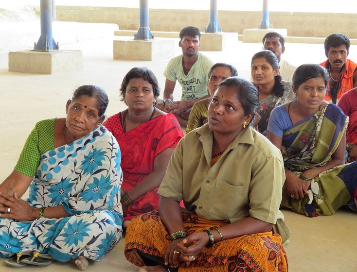 Madhugiri sanitation workers assembled to talk about the upcoming national elections. Sarojamma (front row right).