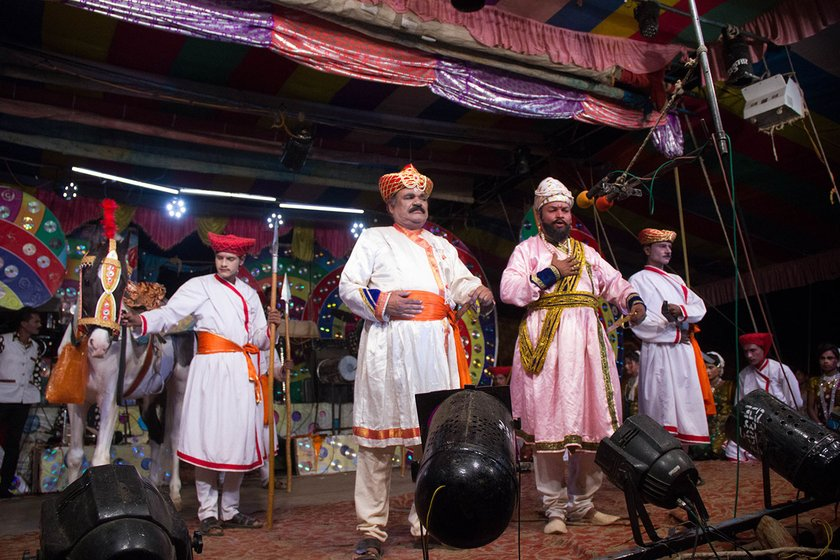 A short skit on Shivaji is performed during the performance in Savlaj village, Sangli district