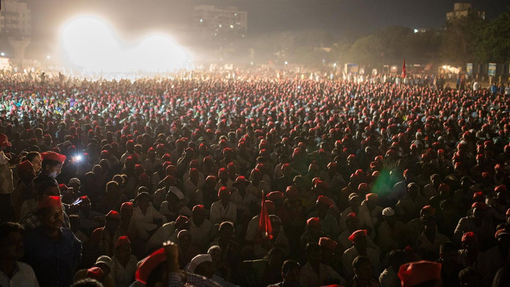 Farmers at Somaiya ground in Mumbai on the night of March 11th