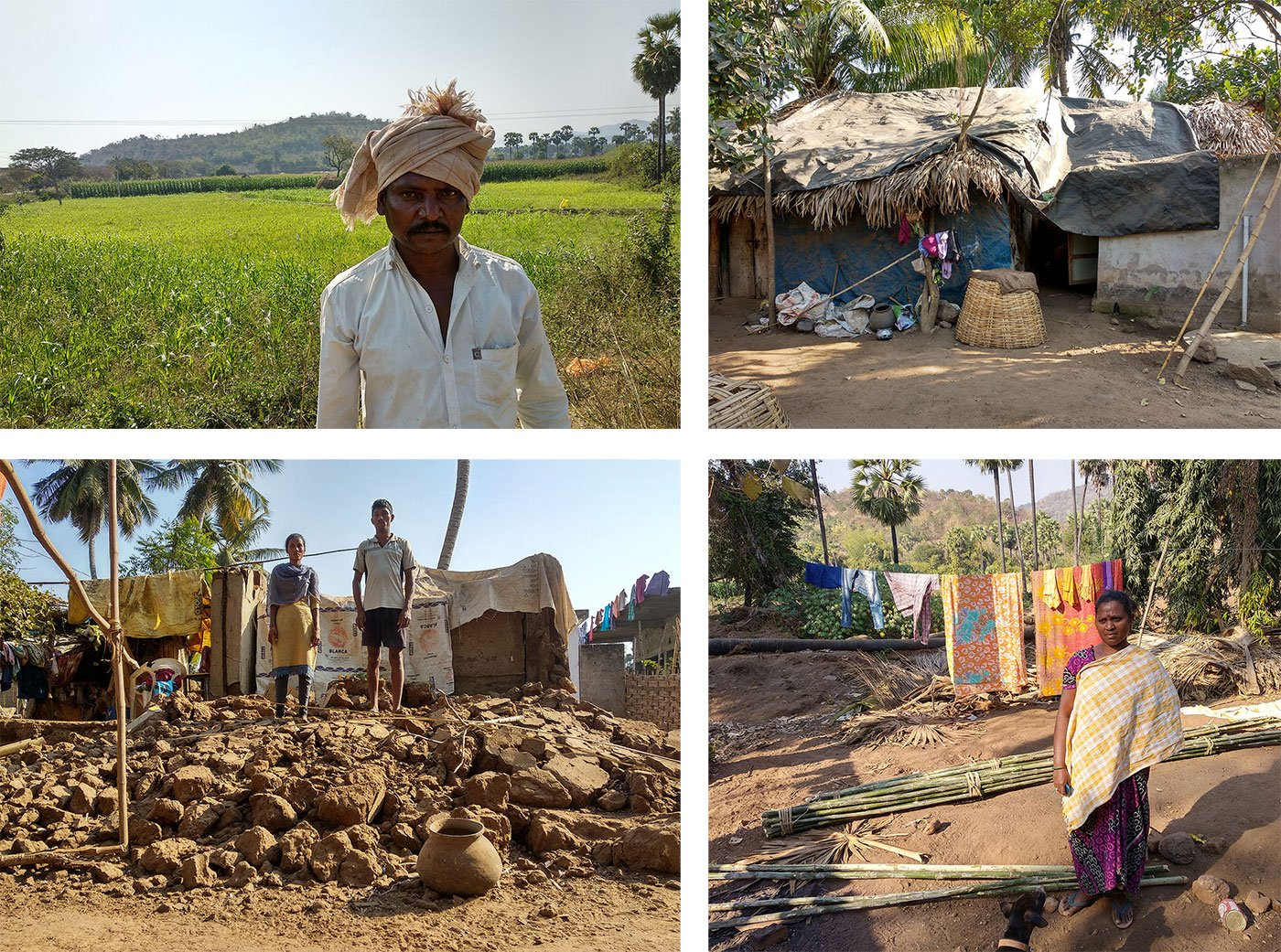 Tama Balaraju in front of his field which got whitewashed in October floods. He again started cultivating maize after the floods receded (top left).  Balaraju is living in this hut right now which he constructed after spending more than 45 days of cold winter nights right under the sky (top right). Mutyala Rao and his sister Prasanna Anjali stand on the top of the ruins of their house which got collapsed during the floods (bottom left).  Madakam Lakshmi in front of her demolished house. She is trying to build a new one but couldn't manage to set aside money for the same. So, she is living on the top of the terrace of the adjacent building (bottom right)