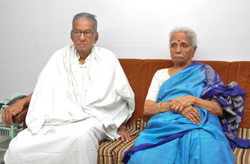 Left: Sankariah in his party office library in 2013 – he had just inaugurated it. Right: With his wife S. Navamani Ammal in 2014 on his 93rd birthday. Navamani Ammal passed away in 2016